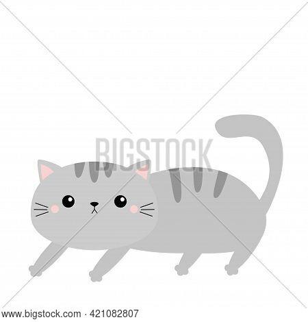 Kawaii Kitten. Frightened Cat Arch Back. Gray Contour Silhouette. Cute Cartoon Character. Funny Anim