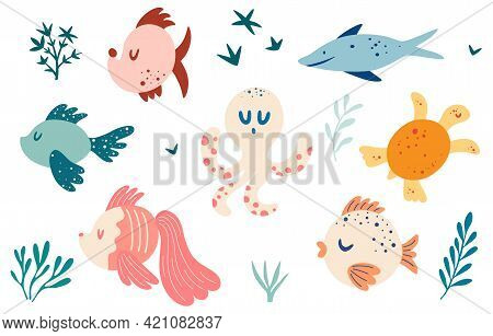 Set With Fish. Various Types Of Fish, Turtle, Octopus. Marine Animals And Aquatic Plants. Maritime C