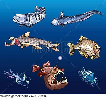 Vector Cartoon Illustration Of Some Deep-sea Fish Living In Near Darkness.