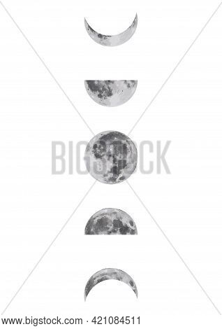Moon Phases Icon Night Space, Astronomy And Nature, Moon Phases, Shadow Sphere. Full Cycle From New