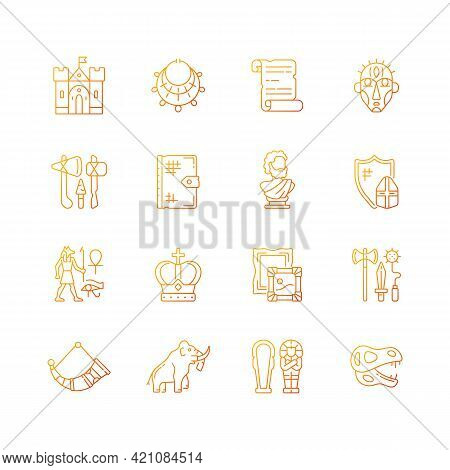 Heritage And Museum Gradient Linear Vector Icons Set. Medieval Times. Excavated Treasure. Historic B
