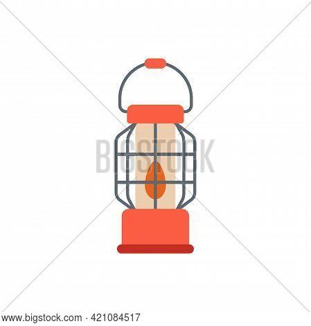 Vintage Camping Red Lantern. Flat Vector Illustration Isolated On White Background. Kerosene Tourist