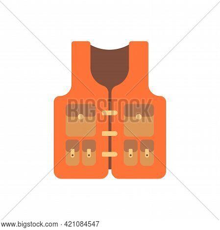 Orange Life Jacket. Safety Life Vest. Flat Vector Illustration Isolated On White Background