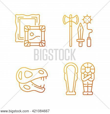 Archaeological Excavation Gradient Linear Vector Icons Set. Paintings. Knight Weapon. Dinosaur Skele