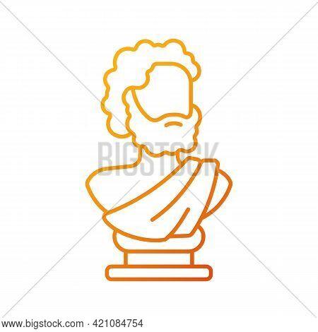 Ancient Statue Gradient Linear Vector Icon. Art History. Ancient Greek Sculpture. Sculpted Philosoph