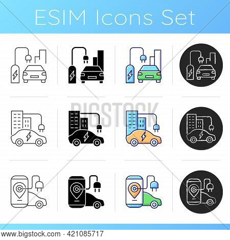 Electric Vehicle Charging Icons Set. Charging Time Of Electromobiles. Money Spent For Electricity On