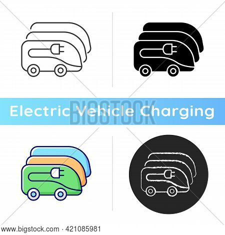 Charging In Electric Bus Depot Icon. Human Transportation Electronical Vehicles. Ecological Way Of T