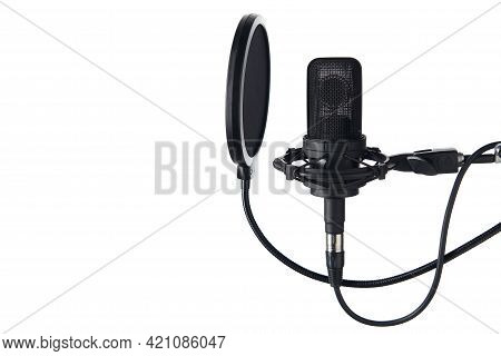Black Studio Condenser Microphone With Pop Up Filter, Isolated On White Background