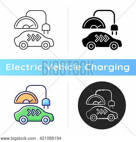 Level 3 Charger Icon. Rapid Way For Getting Car Battery Filled Up. Fast Electricity Source. Ecologic