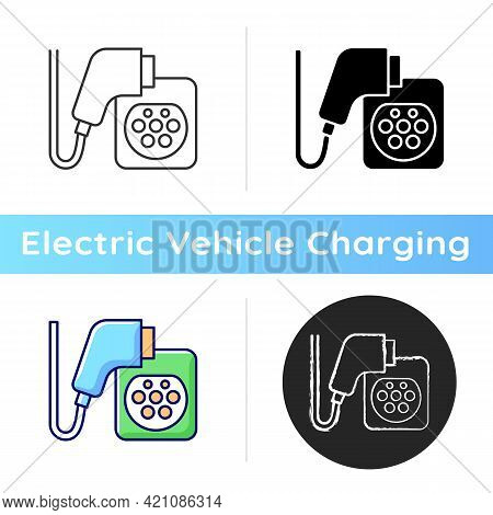 Ev Charging Connectors Icon. Electromobile Fuel Filling Up. Ecological Way Of Transporting. Eco Ener