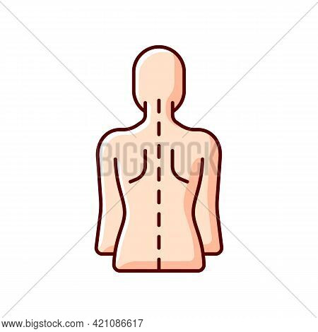 Good Posture Rgb Color Icon. Normal Spine. Normal Spinal Anatomy. Holding Body And Limbs Right. Sust