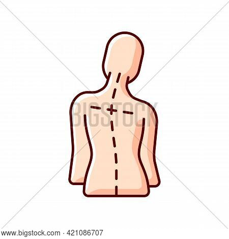 Uneven Shoulders Rgb Color Icon. Postural Change. Difficulty Walking. Back Pain. Skeletal Imbalances