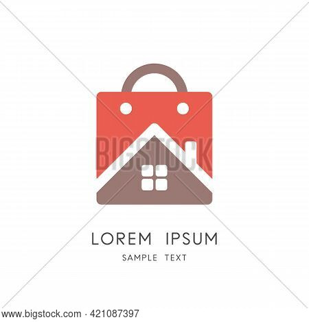 Home And Shopping Bag Colored Logo - House With Window And Chimney, Real Estate Purchase And Sale Sy