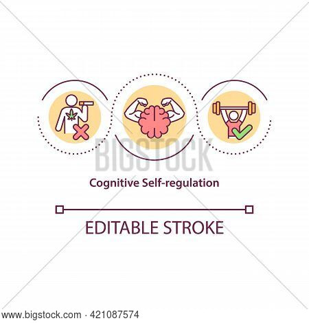 Cognitive Self Regulation Concept Icon. Personal Growth. Avoid Unhealthy Habit. Self Control Strateg
