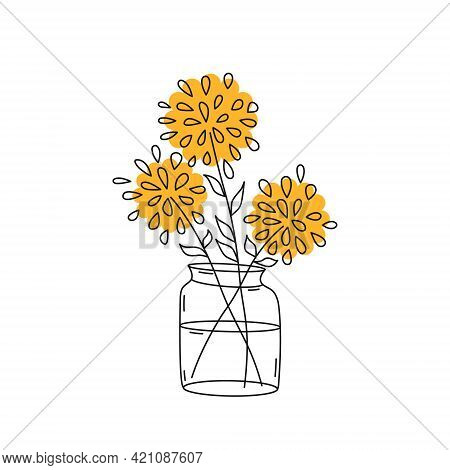 Yellow Abstract Flowers In A Transparent Vase. Chrysanthemums In A Glass Vase. Doodle Style, Thin Li