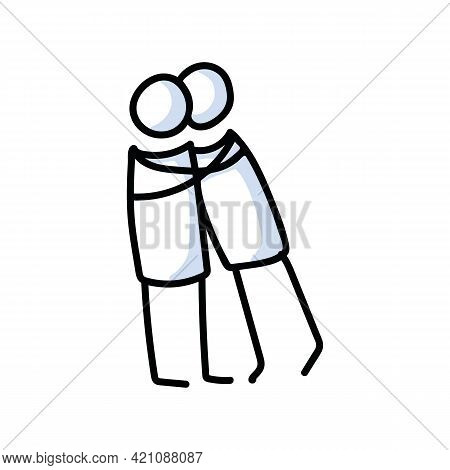Drawn Stick Figure Of 2 Friends Hugging. Support Of Young People Embrace Together Illustrated Vector