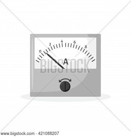 Vector Illustration Of An Isolated Ammeter. Power Measurement Icon. Ammeter For Measuring Amperage I