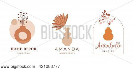 Abstract Bohemian Art Aesthetic Logo Design. Arrangements Of Pottery And Ceramic Pots, Vases With Dr