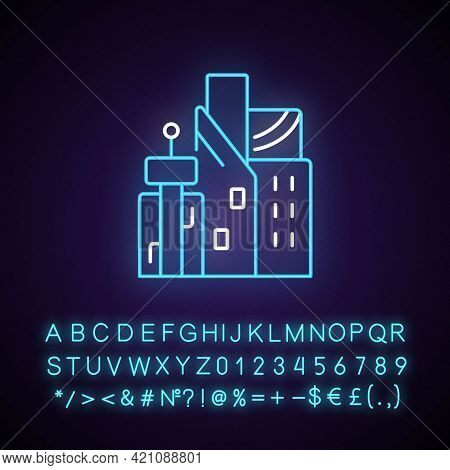 Cyberpunk City Neon Light Icon. Skyscrapers Of Business Centers. Metropolis Buildings. Outer Glowing