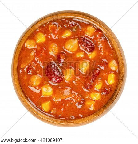 Vegetarian Chili In A Wooden Bowl. Also Chili Sin Carne, A Spicy Stew Containing Chili Powder, Tomat