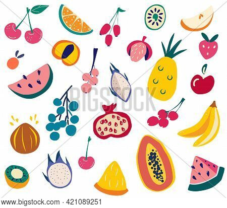 Fruits Set. Doodle Fresh, Tasty Different Fruits. Natural Tropical Fruit Big Collection. Vegan Menu,