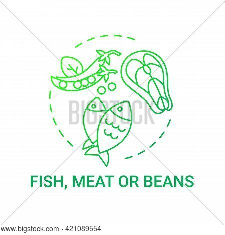 Fish, Meat Or Beans Concept Icon. Healthy School Meal Components. Getting Proper Amount Of Nutrition