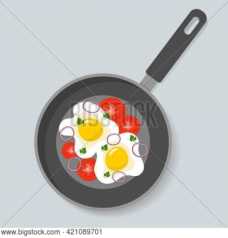 Home Cooked Food, Fried Eggs With Tomatoes, Parsley And Onion In Frying Pan. Healthy Breakfast, Home