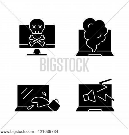 Broken Laptop Black Glyph Icons Set On White Space. Water Damage Symptoms In Hardware. Notebook Stra