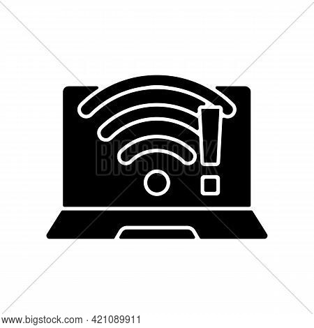 Wi Fi Does Not Work Black Glyph Icon. Wireless Connection Issue, Weak Signal. No Internet. Software
