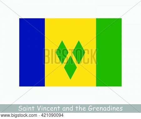 National Flag Of Saint Vincent And The Grenadines. Saint Vincentian Country Flag Detailed Banner. Ep
