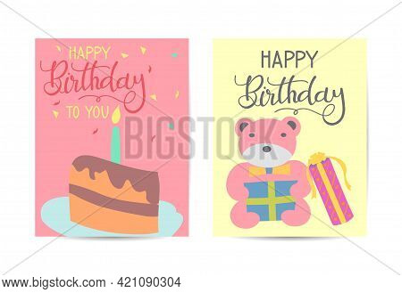 Set Of Cute Creative Birthday Card Templates. Hand Drawn Card For Birthday, Party Invitations, Scrap
