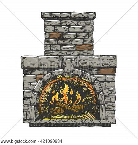 Fire In The Fireplace Line Art Color Sketch Engraving Vector Illustration. T-shirt Apparel Print Des