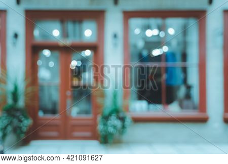 Blurred Abstract Image Of Window Shop Display Or Cafe With Bokeh Lights Background