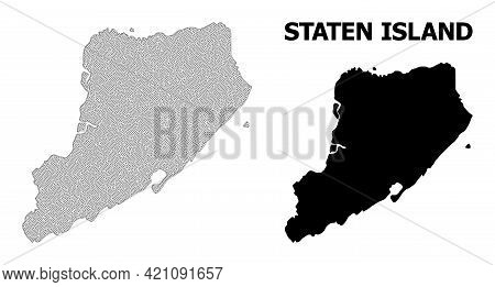 Polygonal Mesh Map Of Staten Island In High Resolution. Mesh Lines, Triangles And Dots Form Map Of S