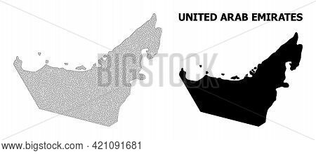 Polygonal Mesh Map Of United Arab Emirates In High Detail Resolution. Mesh Lines, Triangles And Dots