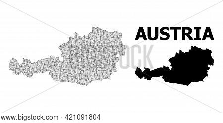 Polygonal Mesh Map Of Austria In High Detail Resolution. Mesh Lines, Triangles And Points Form Map O