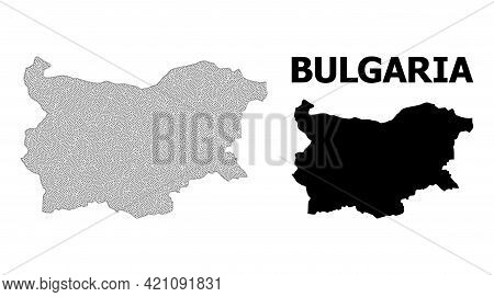 Polygonal Mesh Map Of Bulgaria In High Detail Resolution. Mesh Lines, Triangles And Dots Form Map Of