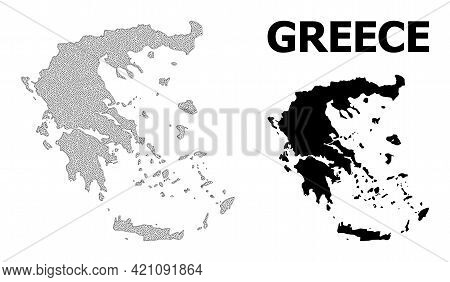Polygonal Mesh Map Of Greece In High Detail Resolution. Mesh Lines, Triangles And Points Form Map Of