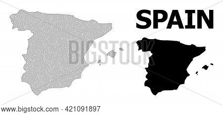 Polygonal Mesh Map Of Spain In High Resolution. Mesh Lines, Triangles And Dots Form Map Of Spain. Hi