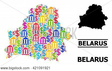 Bright Colored Bank And Dollar Mosaic And Solid Map Of Belarus. Map Of Belarus Vector Mosaic For Gdp