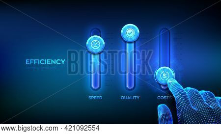 Efficiency Concept. Business Process Control Panel For Quality, Speed And Costs. Wireframe Hand Adju
