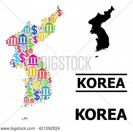 Colorful Bank And Business Mosaic And Solid Map Of Korea. Map Of Korea Vector Mosaic For Ads Campaig