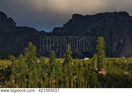 Russia. South Of The Krasnoyarsk Territory. Amazing Contrasts Of Light And Shadow On A Sunny Summer