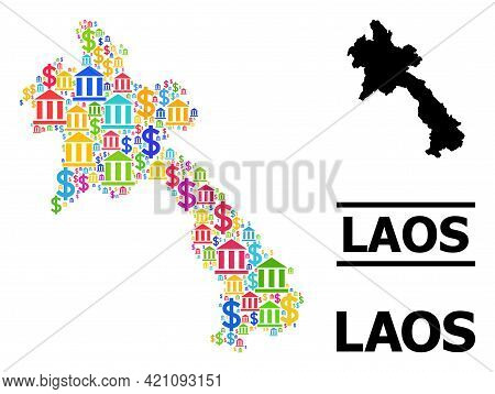 Colorful Bank And Commerce Mosaic And Solid Map Of Laos. Map Of Laos Vector Mosaic For Ads Campaigns