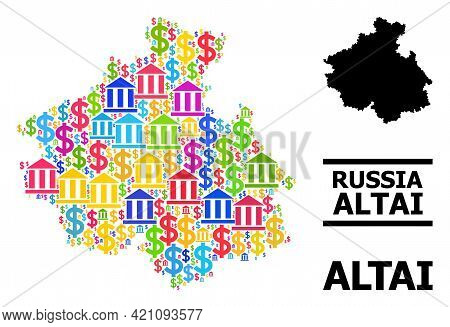 Bright Colored Finance And Dollar Mosaic And Solid Map Of Altai Republic. Map Of Altai Republic Vect