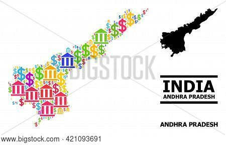 Colored Bank And Economics Mosaic And Solid Map Of Andhra Pradesh State. Map Of Andhra Pradesh State