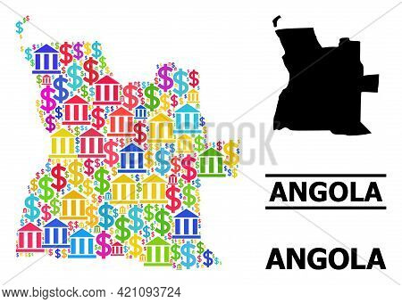 Bright Colored Bank And Commerce Mosaic And Solid Map Of Angola. Map Of Angola Vector Mosaic For Ads