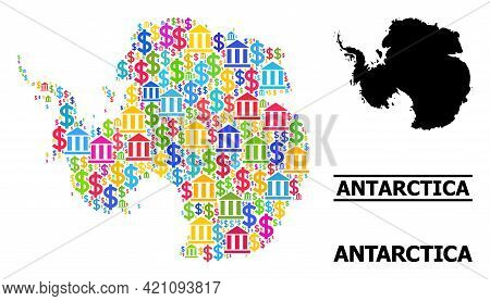 Vibrant Bank And Commercial Mosaic And Solid Map Of Antarctica. Map Of Antarctica Vector Mosaic For