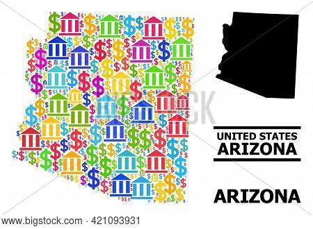Colored Bank And Dollar Mosaic And Solid Map Of Arizona State. Map Of Arizona State Vector Mosaic Fo