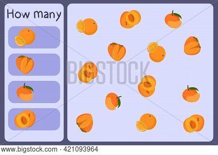 Kids Mathematical Mini Game - Count How Many Fruits - Orange, Persimmon, Tangerine, Apricot. Educati